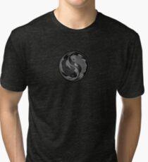 Gray and Black Yin Yang Koi Fish Tri-blend T-Shirt