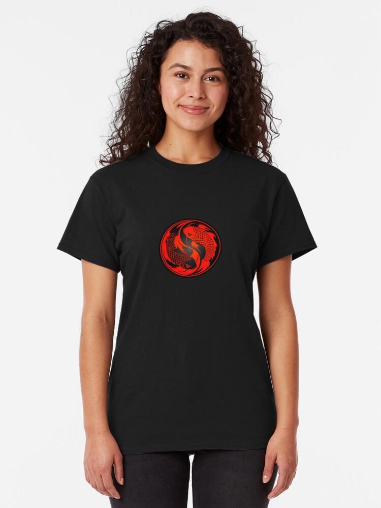 Alternate view of Red and Black Yin Yang Koi Fish Classic T-Shirt