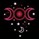 Triple moon in pink mit Sternen. von Christine Krahl