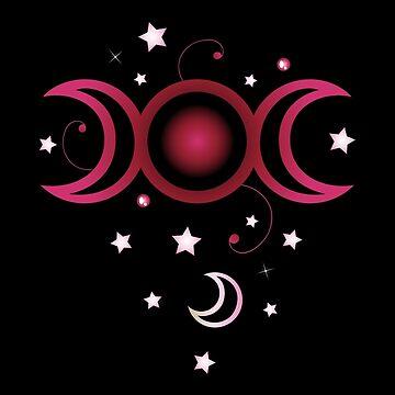 Triple moon in pink mit Sternen. von ChristineKrahl