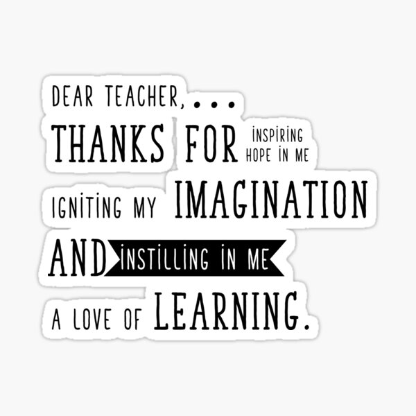 Teacher Thank you for everything Sticker