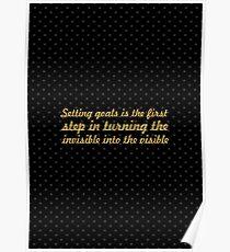 "Ziele setzen ist das erste ... ""Tony Robbins"" Inspirational Zitat Poster"