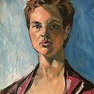 A portrait of Tijana. Oil on composition board.  by Elizabeth Moore Golding