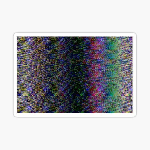 Broken pixels glitch. Television signal fail.  Sticker