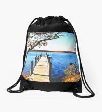 Dock Pier On Water Print Drawstring Bag