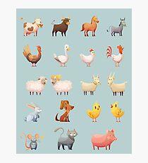 Farm Animals Cartoon Set Photographic Print