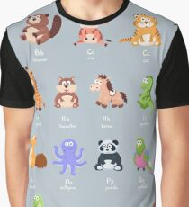 Cartoon Animals Collection Graphic T-Shirt