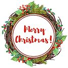 Merry Christmas - watercolor wreath by vasylissa