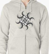 Shee Mandala Spiral with Om and Lotus Symbol Zipped Hoodie