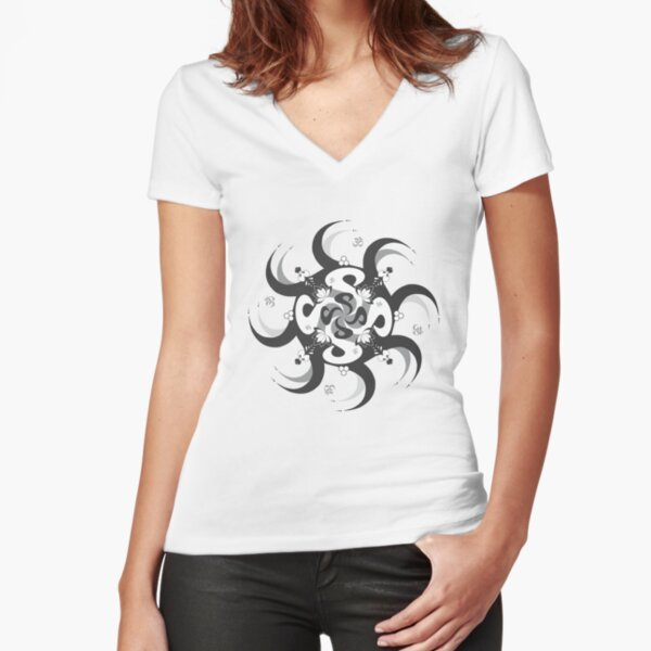 Shee Mandala Spiral with Om and Lotus Symbol Fitted V-Neck T-Shirt