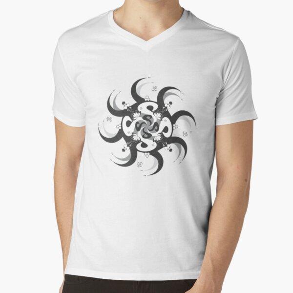 Shee Mandala Spiral with Om and Lotus Symbol V-Neck T-Shirt
