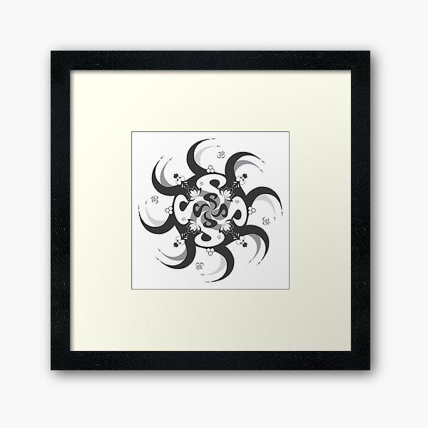 Shee Mandala Spiral with Om and Lotus Symbol Framed Art Print