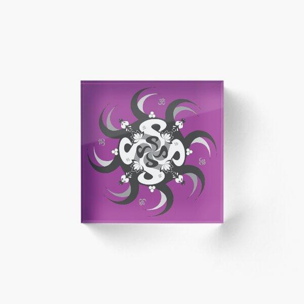 Shee Mandala Spiral with Om and Lotus Symbol Acrylic Block