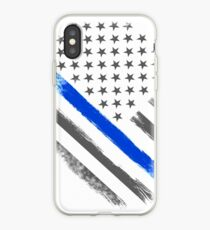 Tactical Thin Blue Line American Flag iPhone Case