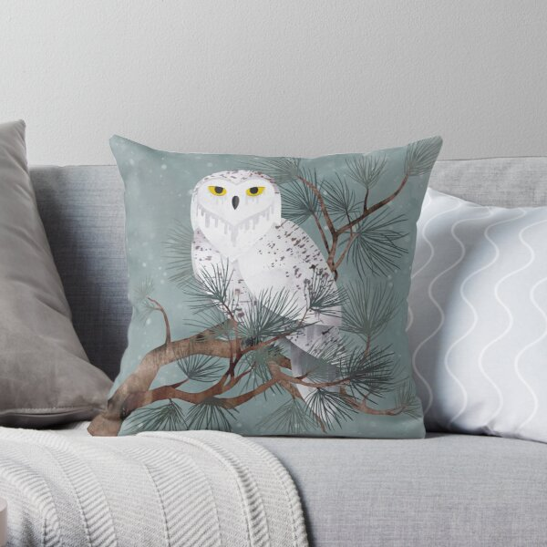 Snowy Throw Pillow By Littleclyde Redbubble