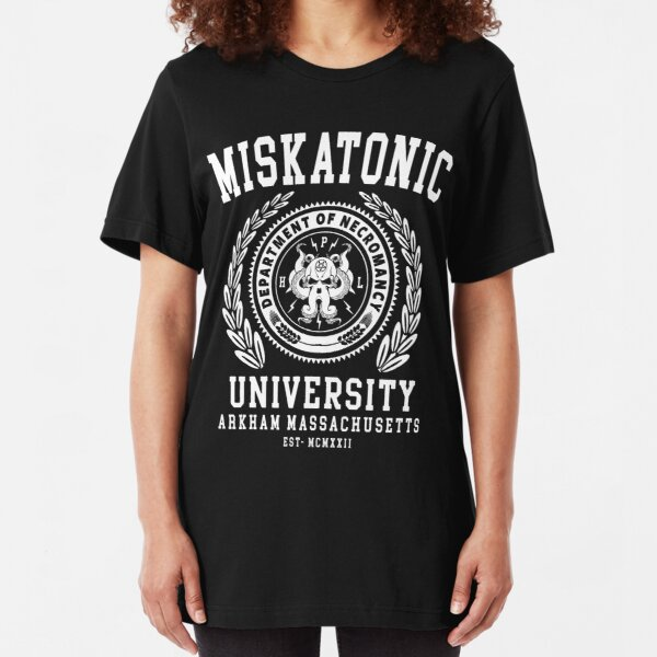CTHULU AND LOVECRAFT - MISKATONIC UNIVERSITY Slim Fit T-Shirt
