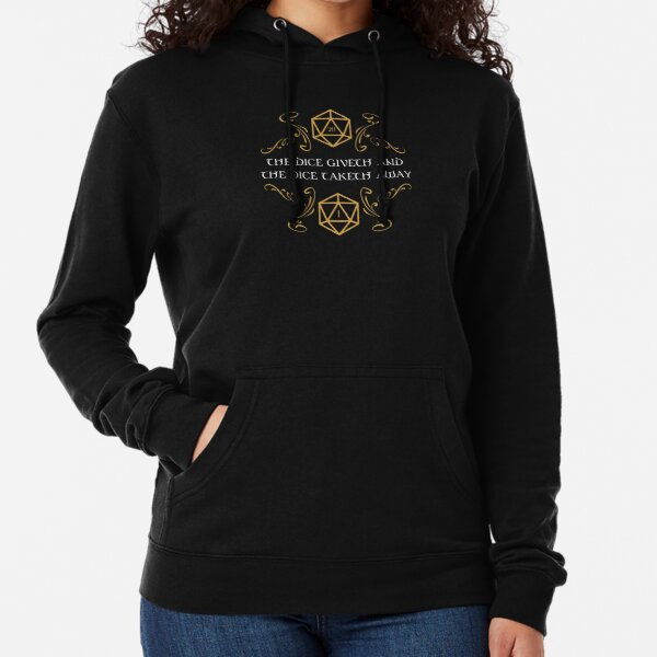 The Dice Giveth and Taketh Away Natural 20 and Critical Fail Lightweight Hoodie