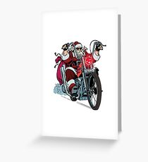 santa motorcycle christmas biker greeting card - Biker Christmas