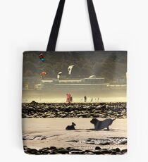 Playtime at the beach with Ruben - Brown Roan Italian Spinone Dog Tote Bag