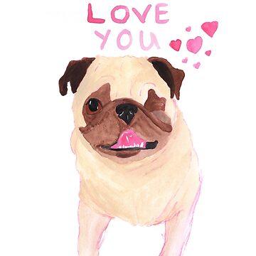 La La Love Pug by chickenpants