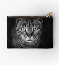 cat in black and white Studio Pouch