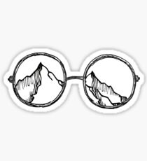 Vintage Glasses Looking at Mountains Sticker
