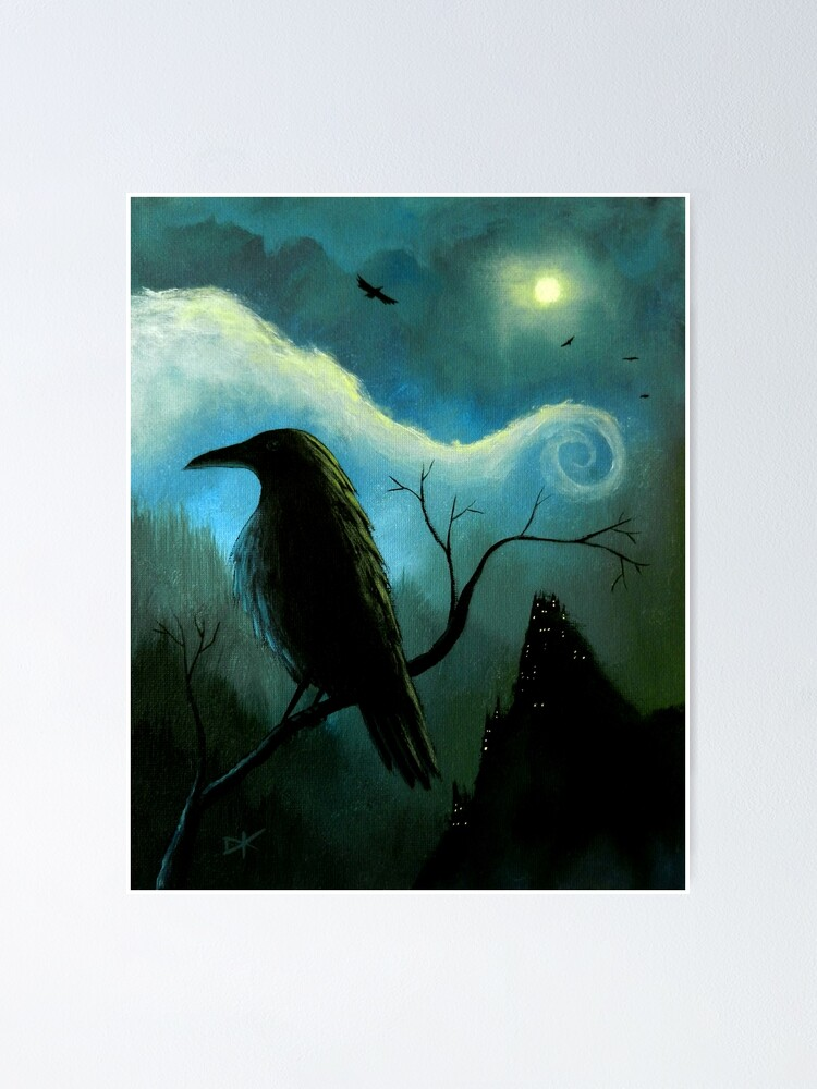 Black Birds Crow Raven Tree Moon Teal Blue Sky Bedroom Art Matted Picture A541
