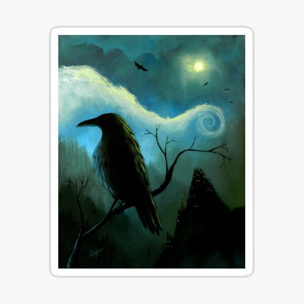 Mountain City Under the Moon - Crows/Ravens Sticker