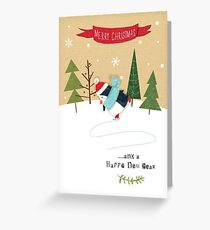 Skating Penguin Greeting Card