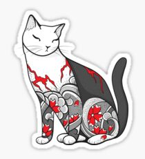 Cat in Cherry Blossom Tattoo Sticker