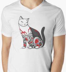 Cat in Cherry Blossom Tattoo Men's V-Neck T-Shirt