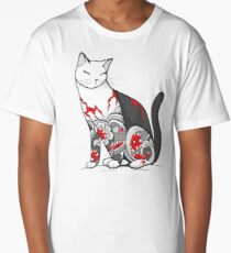 Cat in Cherry Blossom Tattoo Long T-Shirt