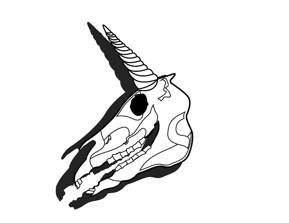 unicorn skull by inudoggy