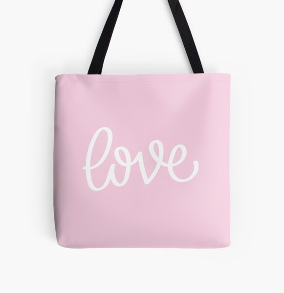 Millennial Pink Love All Over Print Tote Bag