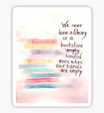 Library/Bookstore Quote with Stacked Books, Color Sticker