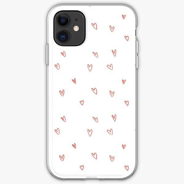 Cute Heart Doodle Pattern iPhone Soft Case