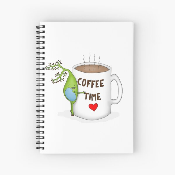Coffee Time Brain Cell Spiral Notebook