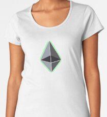 ethereum glow nerd bitcoin blockchain cryptochain währung internet kursgewinn dezentralize it cpu platine computer path universum Women's Premium T-Shirt