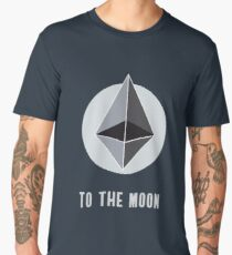 ethereum symbol to the moon sign nerd bitcoin blockchain cryptochain währung internet kursgewinn dezentralize it cpu platine computer path universum Men's Premium T-Shirt