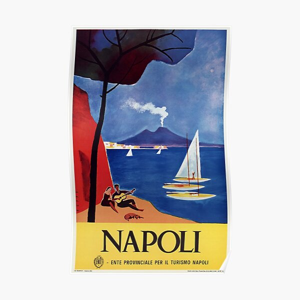 Napels Italy retro vintage travel ad Poster