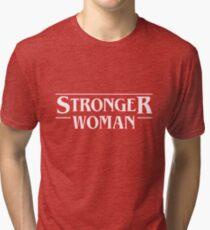Stronger Woman. Stranger Things Lettering Tri-blend T-Shirt