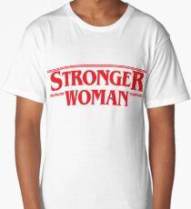 Stronger Woman. Stranger Things Red Lettering Long T-Shirt