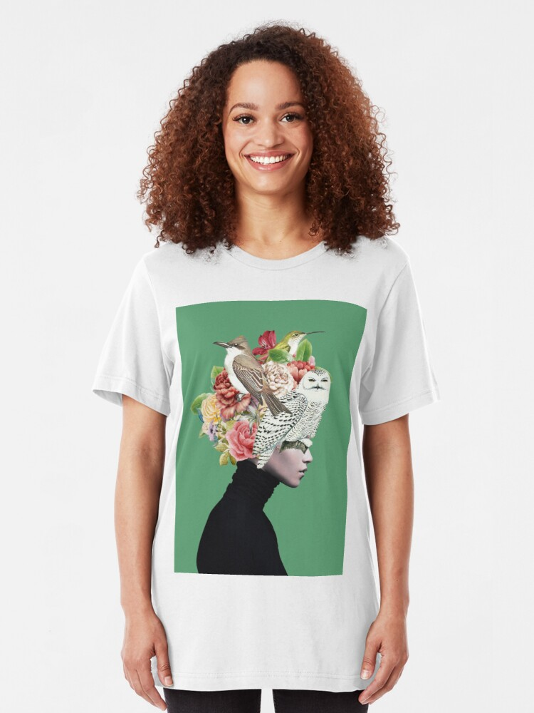 Alternate view of Lady with Birds(portrait) 2  Slim Fit T-Shirt