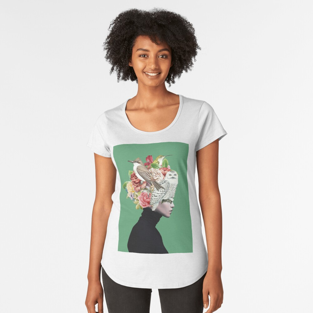 Lady with Birds(portrait) 2  Premium Scoop T-Shirt