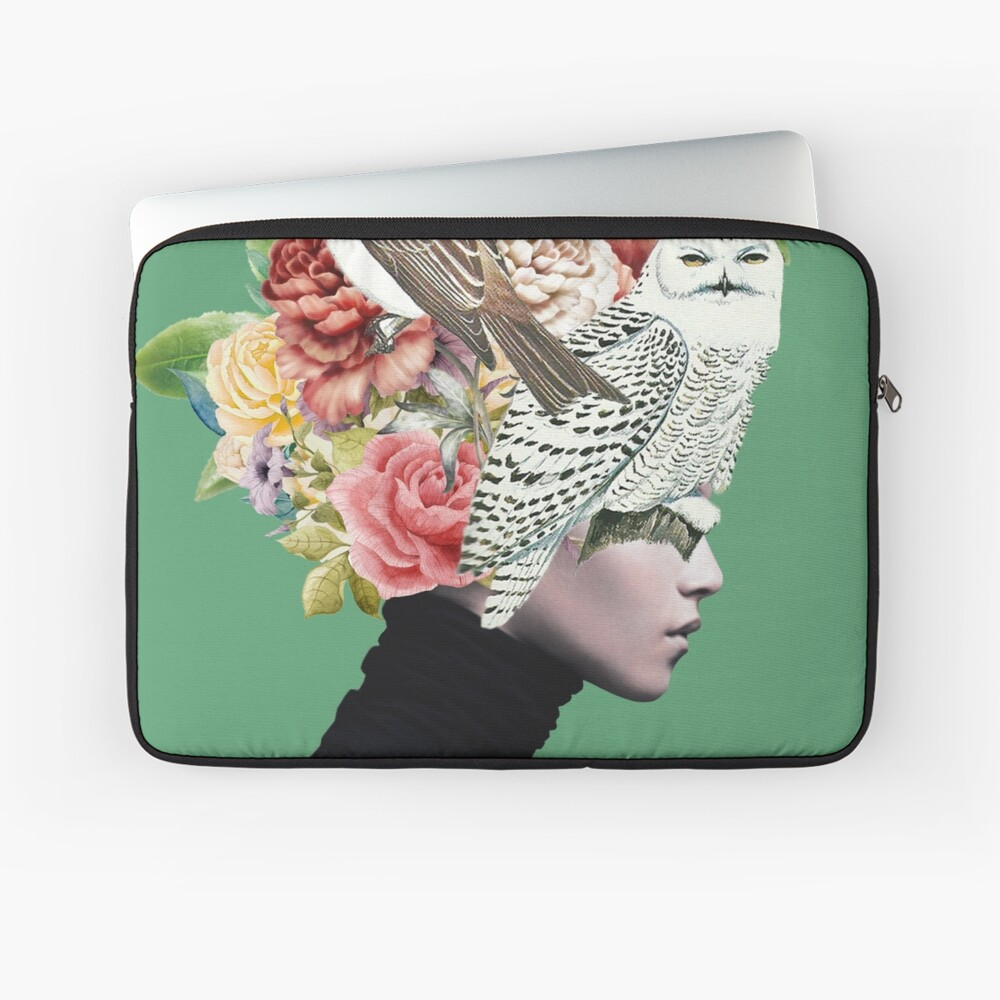 Lady with Birds(portrait) 2  Laptop Sleeve