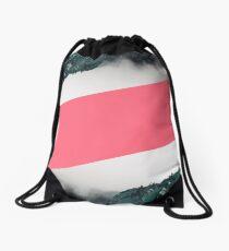 Abstract Mountain Range Blue & Pink Drawstring Bag