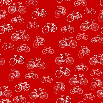 Retro Collection of Bicycles on red by 0hmc