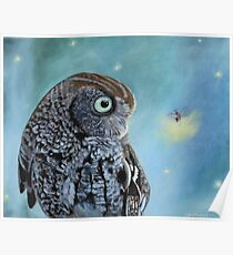 Owl and Lightning Bugs  Poster