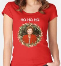 HO HO HO - Blanche Devereaux Christmas from the Golden Girls (White) Women's Fitted Scoop T-Shirt