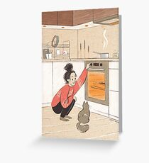 Brownie time! - digital illustration - girl in sweater and her grey cat in the kitchen Greeting Card